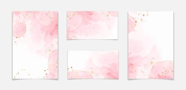 金色のキラキラの汚れや線で抽象的な赤面ピンクの液体水彩背景。金箔でローズマーブルアルコールインク描画効果。結婚式の招待状のベクトルイラストテンプレート。