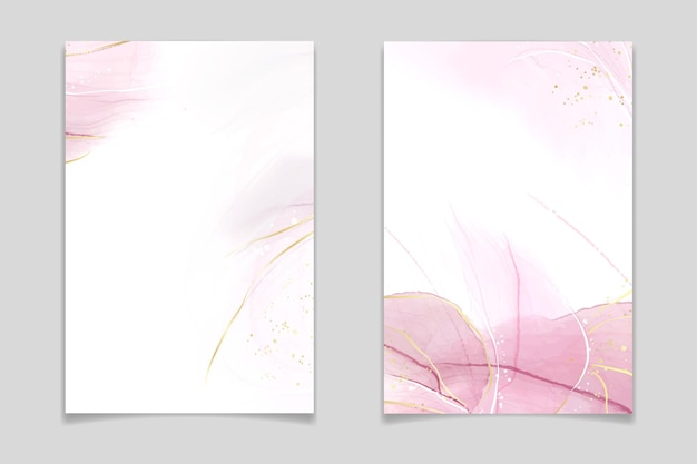 Абстрактный румянец розовый жидкий акварельный фон с золотыми пятнами и линиями. эффект рисунка чернилами на спиртовой основе из розового мрамора с золотой фольгой. векторные иллюстрации шаблон для свадебного приглашения