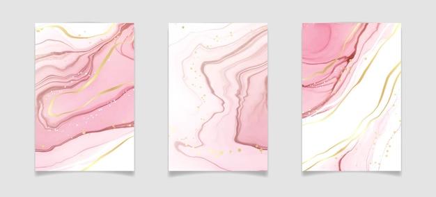 황금 반짝이 얼룩이 있는 추상 홍당무 분홍색 액체 수채화 배경
