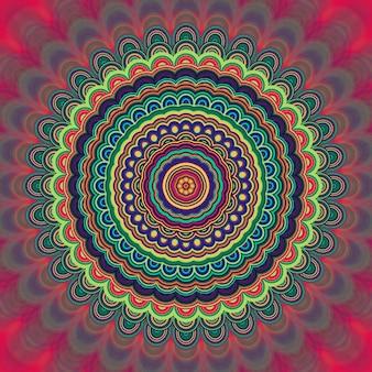 Абстрактный богемный орнамент мандалы - круговой калейдоскоп векторный рисунок из концентрических эллипсов