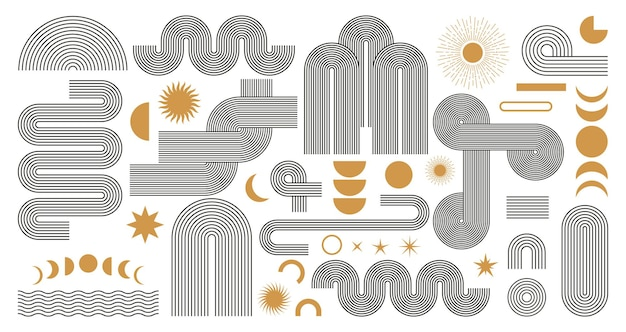 Abstract boho aesthetic geometric shape set. contemporary mid century line design with sun and moon phases, earth tone trendy bohemian style. modern vector illustration