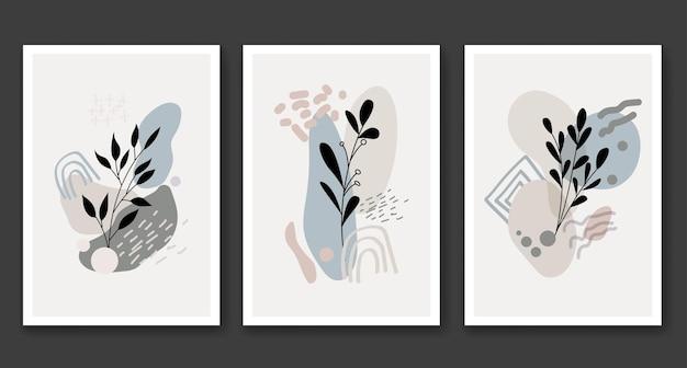 抽象的な自由奔放に生きる花の葉のシルエットアート