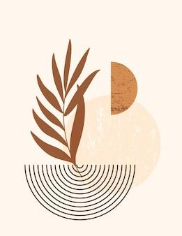 최신 유행 최소한의 스타일에 추상 모양과 잎 추상 boho 그림. 벽 예술 포스터, 티셔츠 인쇄, 표지, 소셜 미디어 스토리를 위한 중성 색상의 벡터 현대 배경