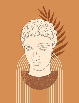 Abstract boho illustration with antique sculpture of hermes in a minimal liner trendy style. vector contemporary background in neutral colors for posters, t-shirts print, cover, social media stories