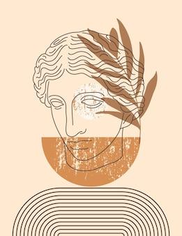 최소한의 라이너 최신 유행 스타일에 아마존의 골동품 조각과 추상 boho 그림. 포스터, 티셔츠 인쇄, 표지, 소셜 미디어 스토리를 위한 중성 색상의 벡터 현대 배경
