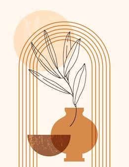トレンディなミニマルスタイルのアーチ、花瓶、太陽と抽象的な自由奔放に生きるイラスト。壁の芸術のポスター、tシャツの印刷、表紙、ソーシャルメディアの投稿のためのテラコッタ色のベクトル現代背景