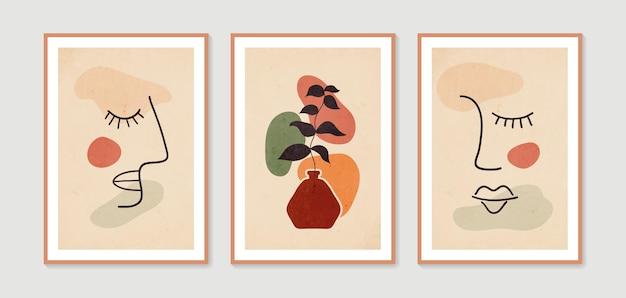 Abstract boho poster minimal and natural wall art vector set