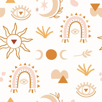 Абстрактная картина boho безшовная с луной, радугой.