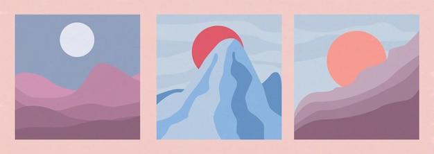 Абстрактные пейзажи стиля бохо набор минималистичный дизайн векторные иллюстрации