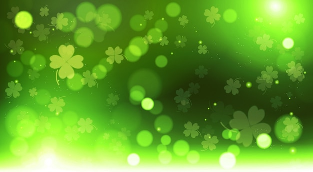 Abstract bokeh blur template clovers background, green happy saint patrick day concept
