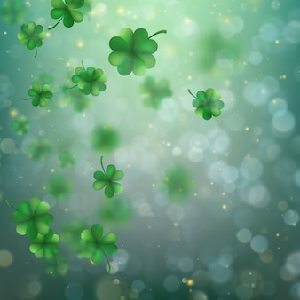 Abstract bokeh blur template with - trifolium clovers.