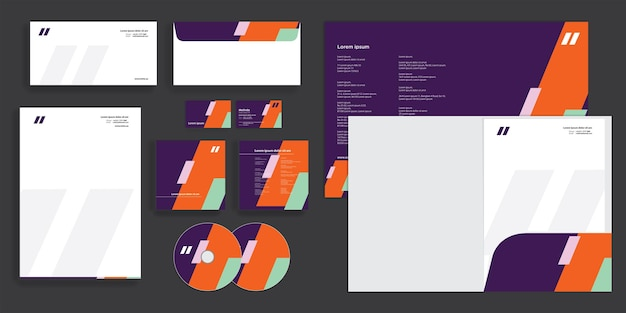 Abstract bold lines modern corporate business identity stationary