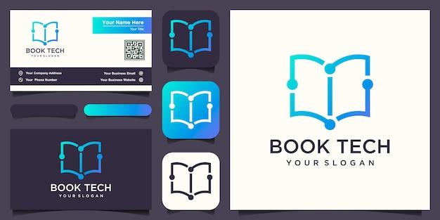 Абстрактная книга сочетается с логотипом микросхемы и вектором дизайна визитной карточки.