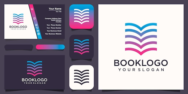 Abstract book combine with line logo and business card design vector.