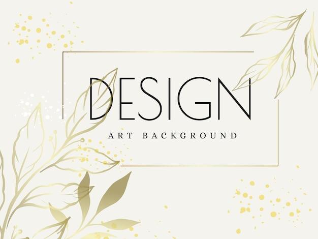 テキストのパッケージとプリントの葉のパターンと抽象的な植物画ベクトルデザインカード