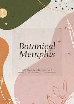 Abstract botanical memphis invitation card