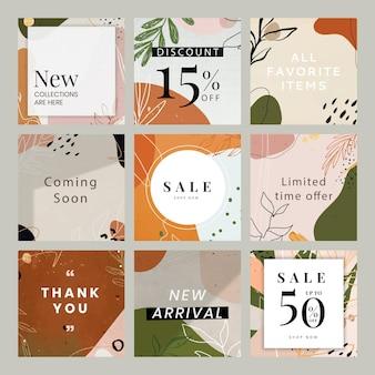 Abstract botanical memphis sale template set