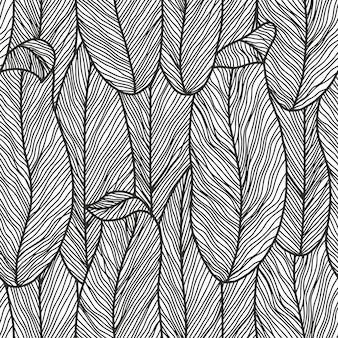 Abstract botanical seamless pattern in monochrome colors with line art flowers