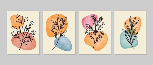 抽象的な植物の壁の芸術、抽象的な葉、自由奔放に生きる枝の植物画。