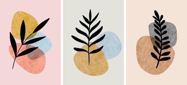 추상 식물 벽 예술, 잎, boho 분기 식물