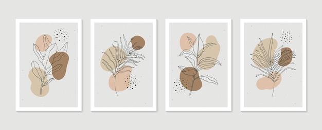 추상 식물 벽 예술 세트 현대 미술 포스터 컬렉션 최소한의 자연 벽 예술
