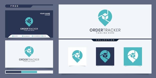 Абстрактная коробка с дизайном логотипа местоположения булавки. дизайн логотипа и визитная карточка
