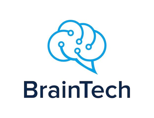 Abstract brain cloud for technology industry simple sleek geometric modern creative logo design