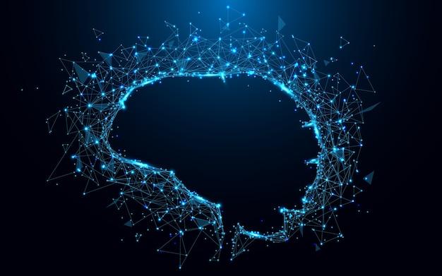 Абстрактные линии формы мозга и синий цвет частиц