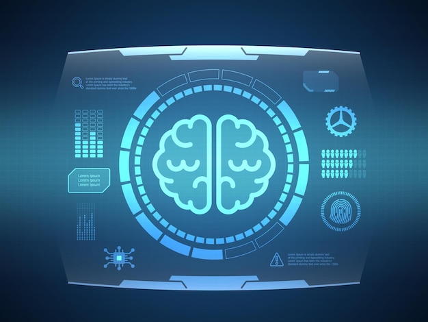 Abstract brain futuristic hud display interface sci fi technology background vector illustration