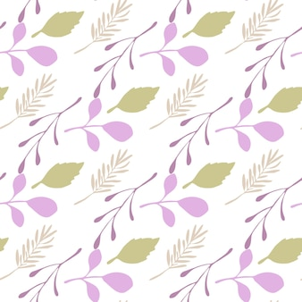 Abstract branches and leaves seamless pattern on white background. vector backdrop in flat style for textile or book covers, wallpapers, design, graphic art, wrapping