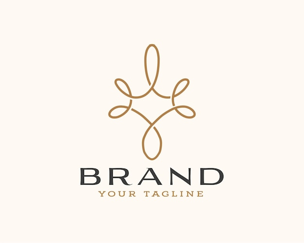 Abstract brand curve line logo design template