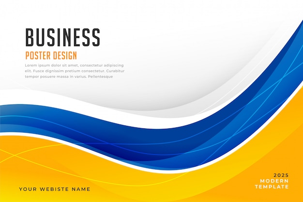 Abstract bright blue and yellow wave background