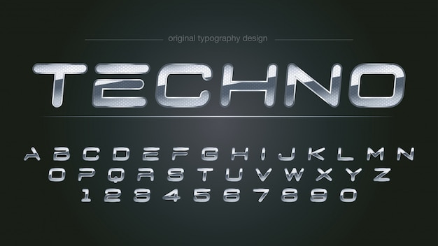 Abstract bright chrome typography design