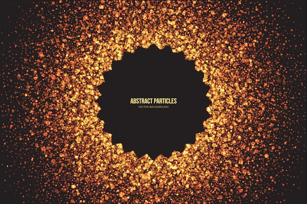 Abstract bright golden shimmer glowing round particles vector background.