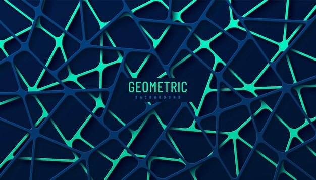Abstract bright green and dark blue geometric line overlap layers on dark background