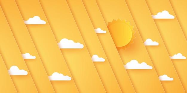 太陽と雲、ペーパーアートスタイルの抽象的な明るいオレンジ色の斜めのオーバーレイの背景