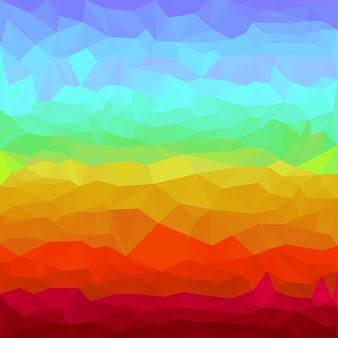카드, 초대장, 포스터, 배너, 현수막 또는 빌보드 표지 디자인에 사용하기 위한 추상 밝은 무지개 스펙트럼 색 다각형 삼각형 배경