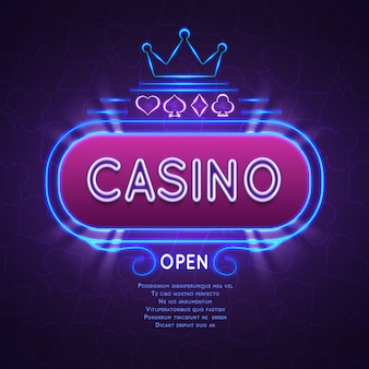 Abstract bright vegas casino banner with neon frame. vector gambling background.