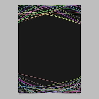 Abstract brochure template with random curves in multicolored tones at top and bottom