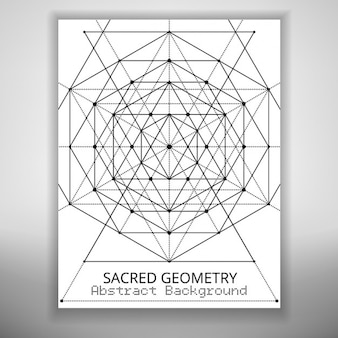 Abstract brochure template with sacred geometry drawing