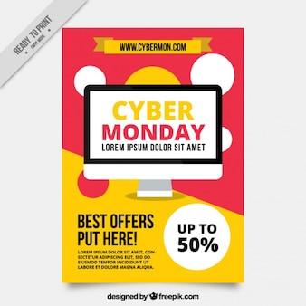 Brochure astratto con le migliori offerte di cyber lunedi