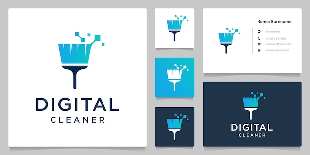 Abstract broom cleaner technology logo design