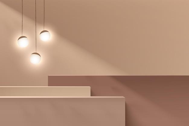 추상 갈색 및 베이지색 3d 단계 큐브 받침대 또는 구형 볼 교수형 램프가 있는 스탠드 연단입니다. 화장품 디스플레이 프레젠테이션을 위한 최소한의 벽 장면. 벡터 기하학적 렌더링 플랫폼 디자인입니다.