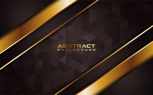 オーバーラップレイヤーと抽象的な茶色とラインゴールドの背景