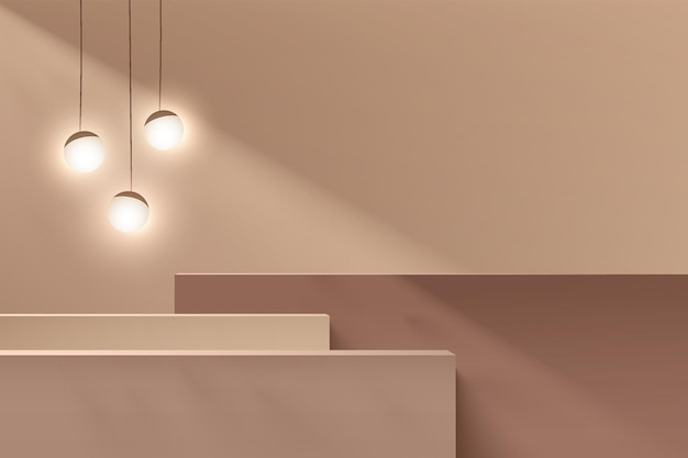 Abstract brown and beige 3d steps cube pedestal or stand podium with sphere ball hanging lamp. minimal wall scene for cosmetic product display presentation. vector geometric rendering platform design.