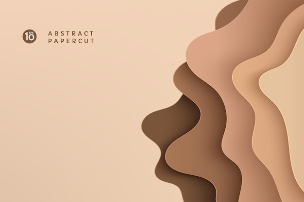 Abstract brown and beige paper cut wavy shapes layers background with copy space. modern topo graphic. fluid curve pattern in earth tone color. vector illustration