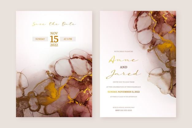 Abstract brown and gold alcohol ink wedding invitation