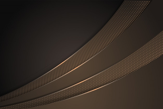Abstract brown gradient background with curve design. halftone circle pattern use light brown. horizontal layout.