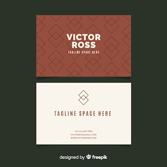 Abstract brown and white visit card template