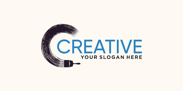 Abstract brush stroke logo design with creative modern concept premium vector